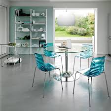 Sweet Round Glass Kitchen Dining Table Blue Acrylic Dining Chair Chrome  Plated Iron Legs Kitchen Chairs And Mid Century Dining Chairs Single Chrome  Metal ...