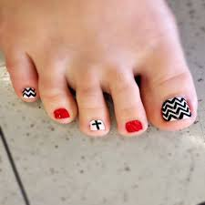 Red Black And White Toe Nail Designs - Best Nail Ideas