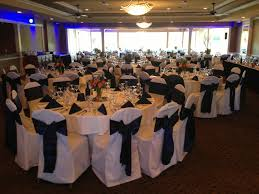 wedding navy blue satin sash tie on white poly chair cover northwest from 11 wedding