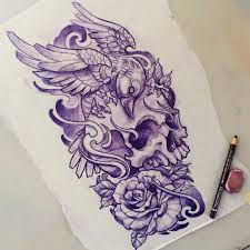 Skull Crow эскизы эскиз тату рисунки татуировок и татуировки