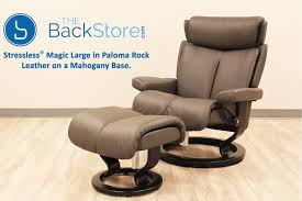 stressless magic large paloma rock color leather recliner and ottoman