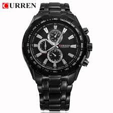 men watches curren top brand luxury full steel waterproof sports watch black black