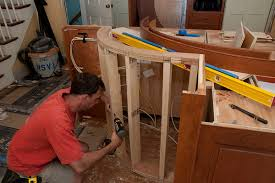 framing the curved island half wall