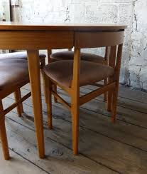 round extending teak dining table 4 chairs midcentury retro and vintage extending dining tables