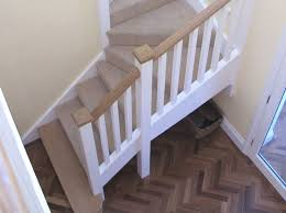 oak stop chamfered barade pine reeded spindles with contrasting oak handrail