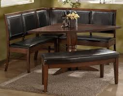 old style vintage oak triangle shaped breakfast nook dining table with banquette and bench with black leather seat ideas