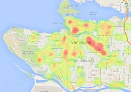 """map mashup and """"heat map"""" show development hotspots in vancouver"""