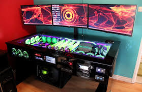 watercooled pc desk mod with built in car audio system evga pertaining to pc desk build