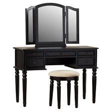 black makeup vanity with drawers. tri folding fold mirror vanity makeup table set w/ stool \u0026 (5) drawers - black with i