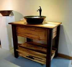 open bathroom vanity cabinet: bathroom rustic vanity cabinet with open shelf using black vessel sink and faucet placed on