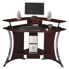 a curved computer desk