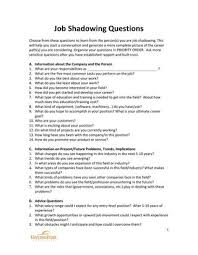 Job Shadowing Questionnaire By Mary Ila Ward Issuu