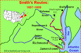 john smith a founder of jamestown enchantedlearning com Map Of Voyage From England To Jamestown by the end of the first year, most of the settlers had died of starvation or disease after that disastrous first year, smith imposed order by forcing England to Jamestown VA Map