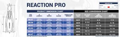 Cressi Reaction Fins Size Chart Cressi Reaction Pro Full Foot Fins