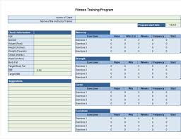 Workout Table Template Exercise Planner