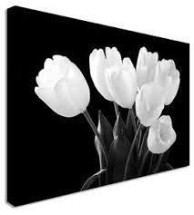 image is loading tulip darkness black amp white garden floral flower  on black and white tulip wall art with tulip darkness black white garden floral flower canvas wall art