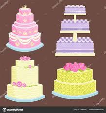 Wedding Vector Cake Pie Sweets Dessert Bakery Flat Simple Style