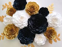 12 large paper flowers black white gold