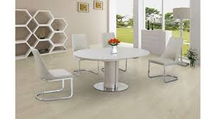 extending round cream high gloss glass dining table and 4 chairs set