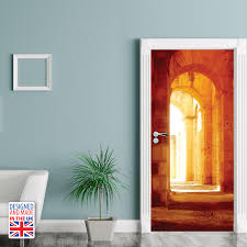 wd10023 castle hallway self adhesive door mural designed and made in uk