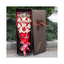 Best Selling Teddy Bear Plush Toys With Fake Roses Cartoon Fashion Flowers Bouquet Gift Box Valentines Day Birthday Gifts