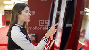 Female Vending Machine Mesmerizing Teenager Buying Movie Ticket From Vending Machine At Cinema Female