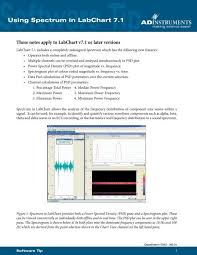 Using Spectrum In Labchart 7 1 Adinstruments