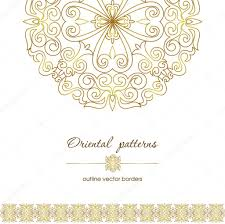 Set Of Oriental Patterns And Borders Made In The Contour