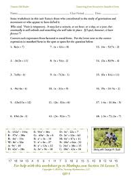 solving equations by completing the square worksheet math converting from factored form to standard form unit