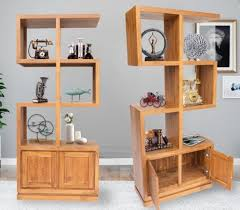 almari s shaped solid teakwood wall shelf divider bookcase