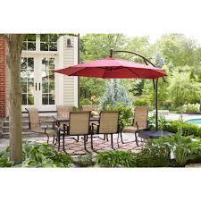hampton bay yjaf052 11 ft led round offset patio umbrella in red vip