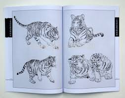 chinese tiger drawing. Fine Drawing Chinese Book Painting Tiger Album Xianmiao Line Drawing Gongbi  Meticulous Intended Drawing 6