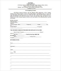 food catering contract template wedding catering contract sample