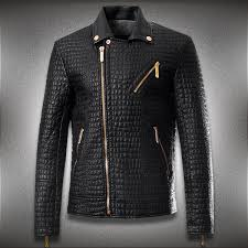 men crocodile style leather brand motorcycle jacket men fashion slim fit jacket men coats men high quality leather jacket k295