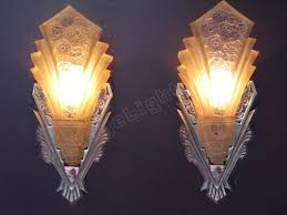 art deco home theather sconces nickel finish consolidated shades antique lighting fixture