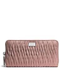 Women s Pink Madison Accordion Zip Wallet in Gathered Twist Leather