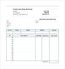 Repair Estimate Form Auto Body Repairs Service Car Sheet Template ...