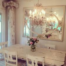 elegant chandelier and mirror 22 shabby chic dining room ideas