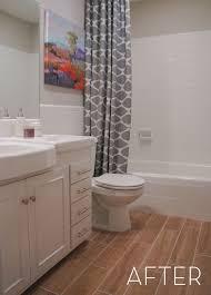 before and after refinished tile bathroom makeover