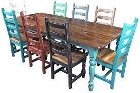 mexican dinning table dining table multi color colonial painted wood dining set 9 piece set mexican mexican dinning table kitchen