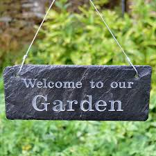 garden sign. Welcome To Our Garden Sign Engraved In Slate M