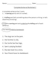 Name: : ______ Complete Sentence Worksheet 1 A complete sentence ...
