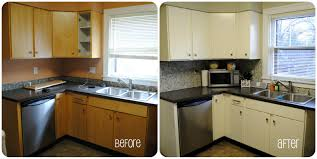 painted black kitchen cabinets before and after. Delightful L Shape Before And After Kitchen Remodels Decoration With Light  Gray Wall Paint Including Black Granite Counter Painted Cabinets O