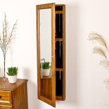 southern enterprises 48 1 4 in x 14 1 2 in wall mounted jewelry armoire with mirror in plantation oak vm5064 the home depot
