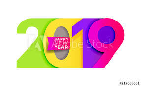 Happy New Year. 2019 Colorful number text design typography pattern ...
