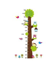 Covpaw Wall Stickers Us Stock Height Chart Measure Scale Decor Zoo Animal Owl Tree Growth Chart Kids Nursery Baby Room