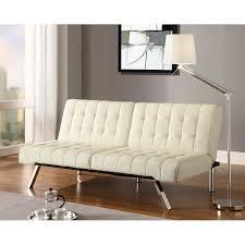 faux leather convertible sofa in vanilla