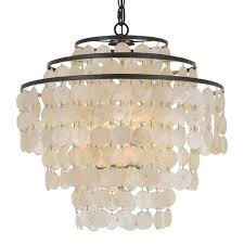 elight design capiz shell 18 inch four light bronze chandelier
