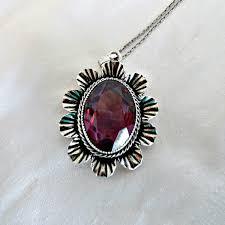 danecraft sterling large amethyst pendant necklace