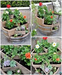 barrel garden. DIY Recycled Wine Barrel Planter Instructions-20 Upcycled Container Gardening Planters Projects Garden